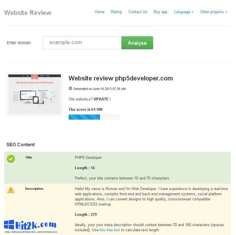 Website Review 4.3 Analyse Your Web Page Extended License
