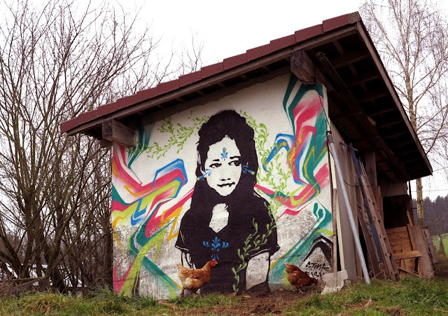 New Street Art Portrait By Colombian artist Stinkfish somewhere in the city of Linz, Austria. 1