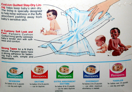 Pampers diaper with tapes 1971