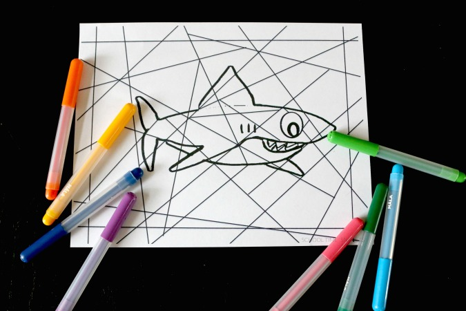 stained glass shark coloring page