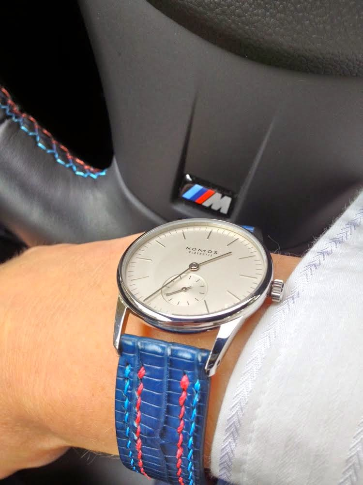 Marcela's Nomos Orion 33 on Deep Blue Teju with Double Row stitching