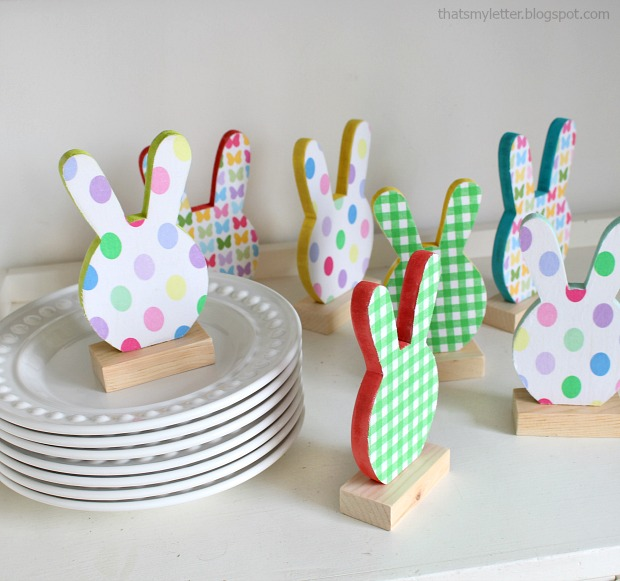 diy bunny place cards with fabric