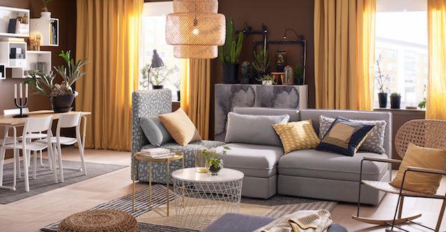 salón de Ikea con alfombra Birket