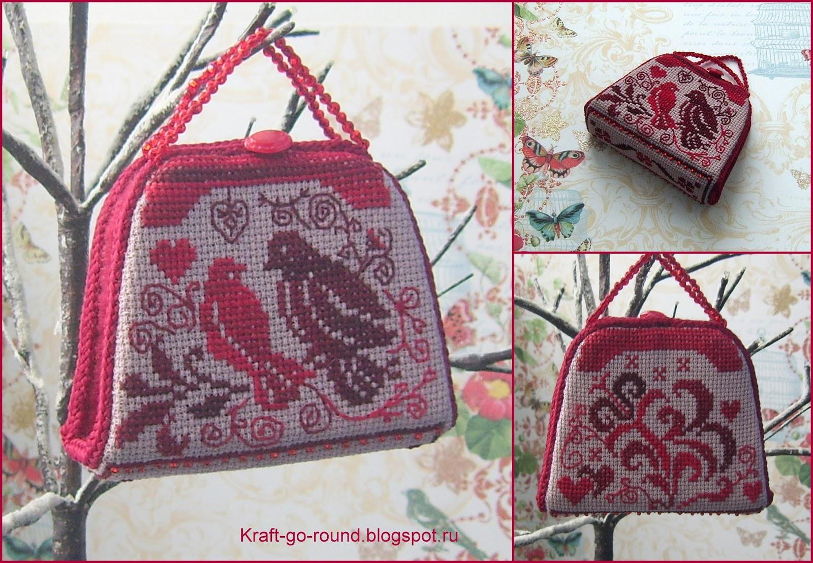 схемы вышивки сумочка игольница маки