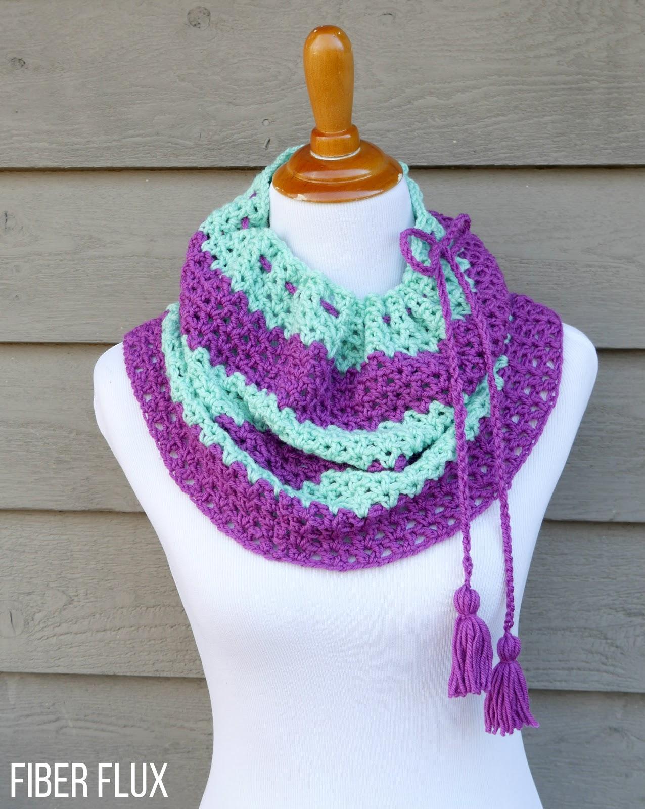 Fiber Flux Free Crochet Patternraspberry Mint Tassel Cowl