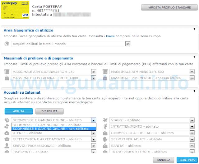 Sito Poste modificare limiti carta Postepay