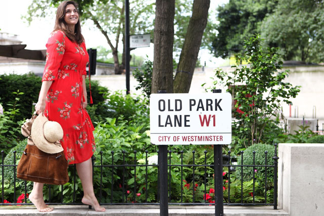 Red Peasant Dress in London