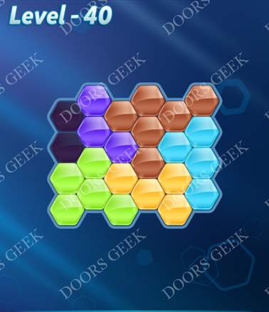 Block! Hexa Puzzle [6 Mania] Level 40 Solution, Cheats, Walkthrough for android, iphone, ipad, ipod