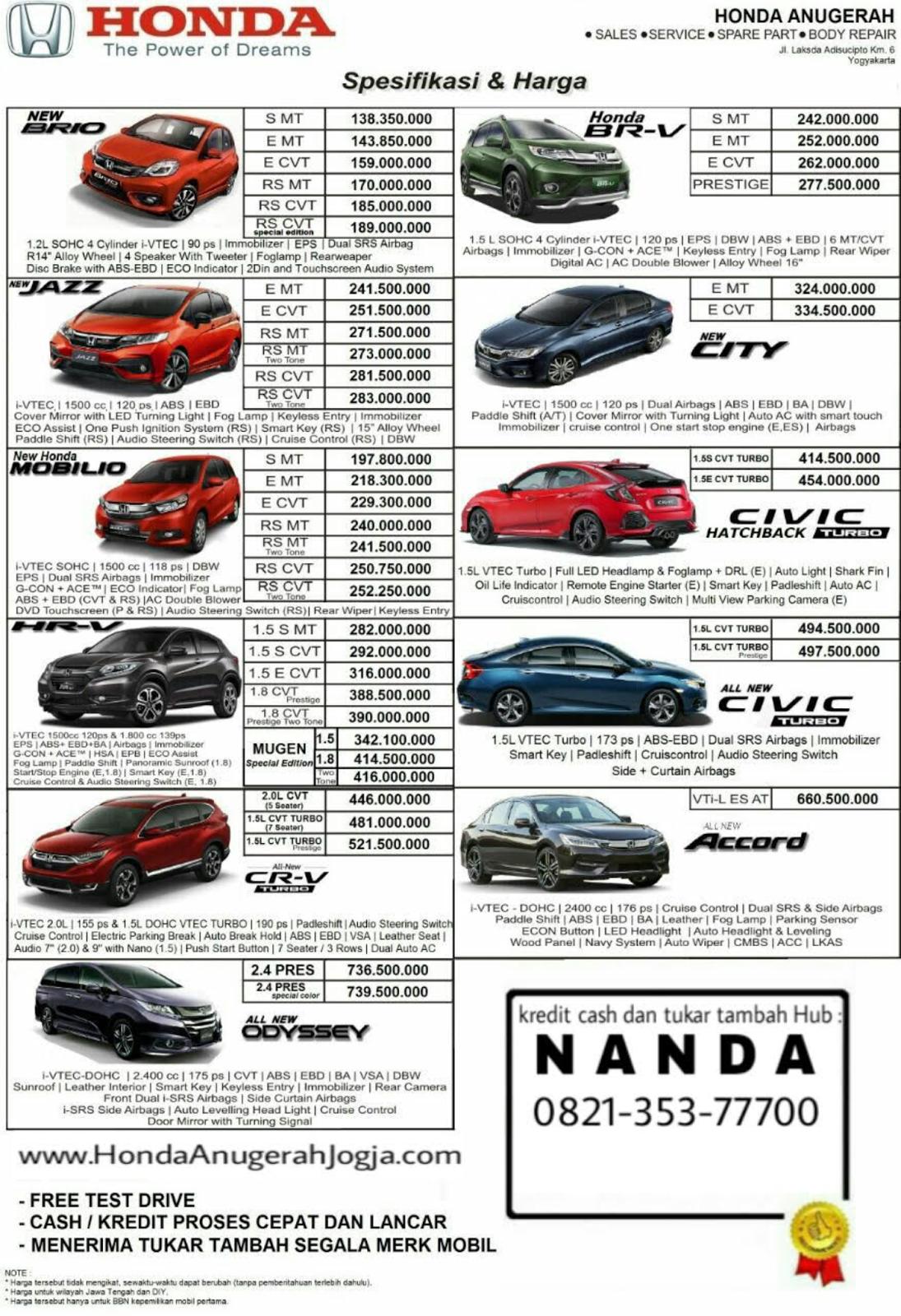 Harga Mobil Baru Honda 2017 Terbaru Di Jogja Honda Anugerah Jogja