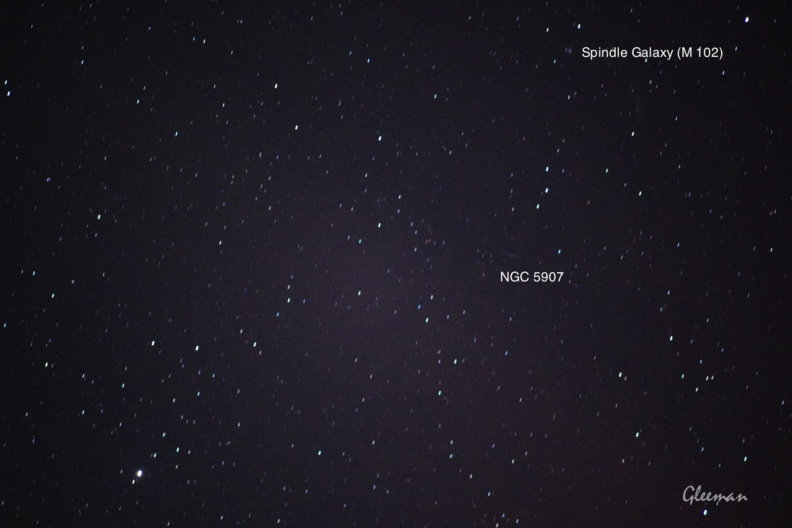 M102, NGC 5907 / Pentax  K5 + Pentax O-GPS1 + DA*200