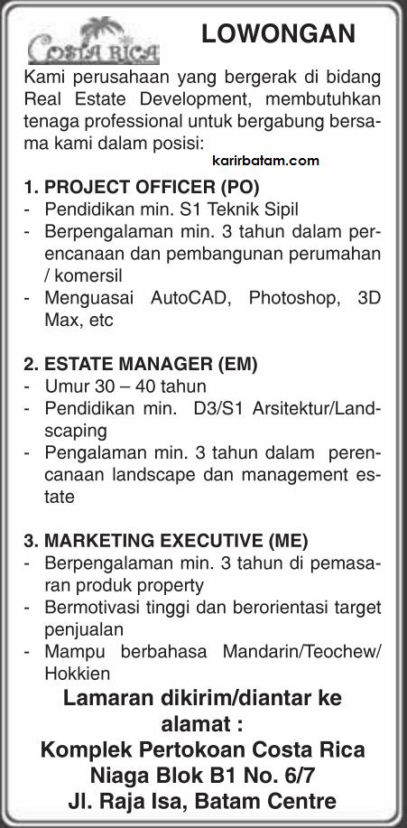 Lowongan Kerja Costarica Real Estate Development