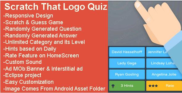 تحميل كود سورس تطبيقات الاندرويد Scratch That Logo Quiz