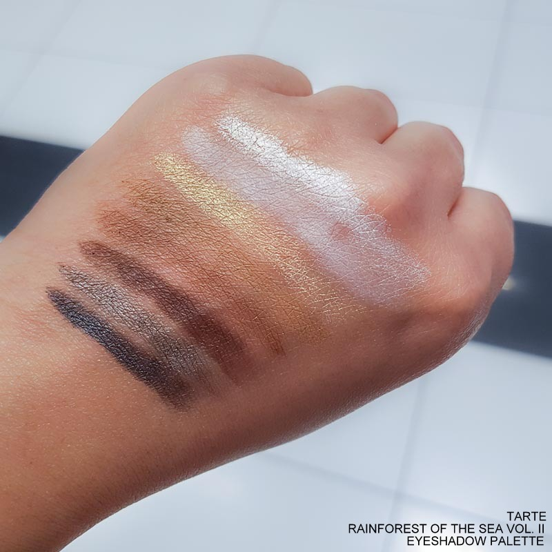 Tarte Rainforest of the Sea Eyeshadow Palette Volume II - Swatches  Riptide Breezy Siren Seaside Marina Sunset Conch Pearl