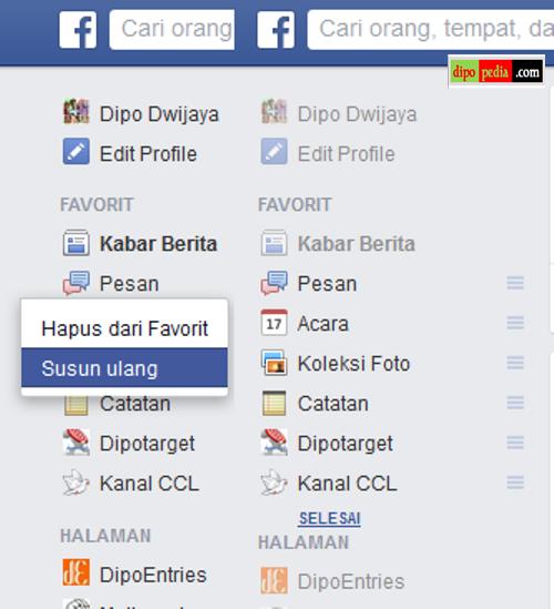 Ilustrasi Cara Menyusun Ulang Daftar Favorit Pada Beranda Facebook - Dipopedia