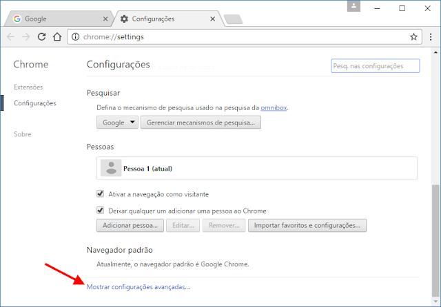 Google Chrome Configurações