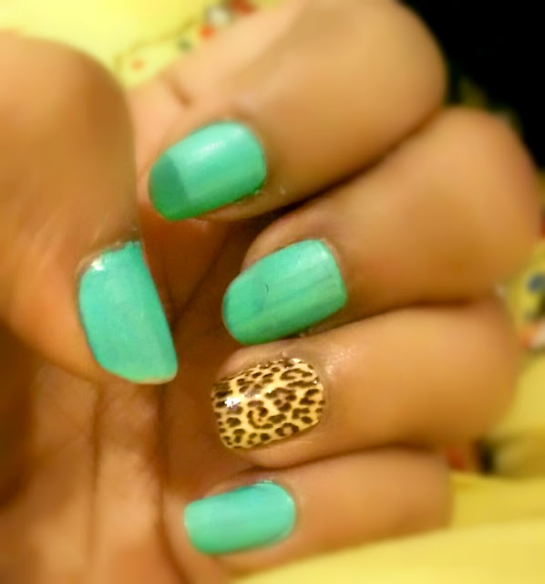 Teal + Cheetah Nails OMG Nail Strips