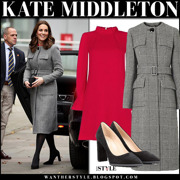 Kate Middleton in black check belted coat lk bennett delli, red dress goat elodie and black pumps tods baby bump royal style december 6