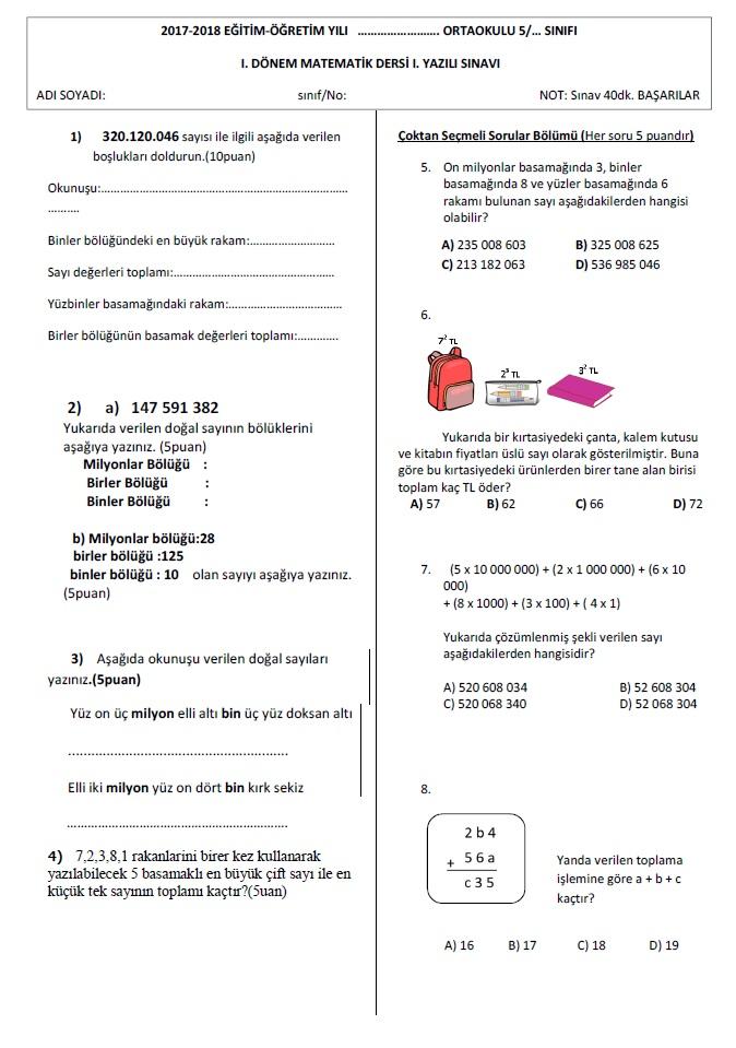5 Sinif Matematik Dersi 1 Donem 1 Yazili Sinavi Test Matematik