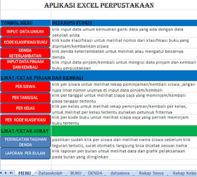 Aplikasi Administrasi Perpustakaan Sekolah Excel SD, SMP, SMA, SMK