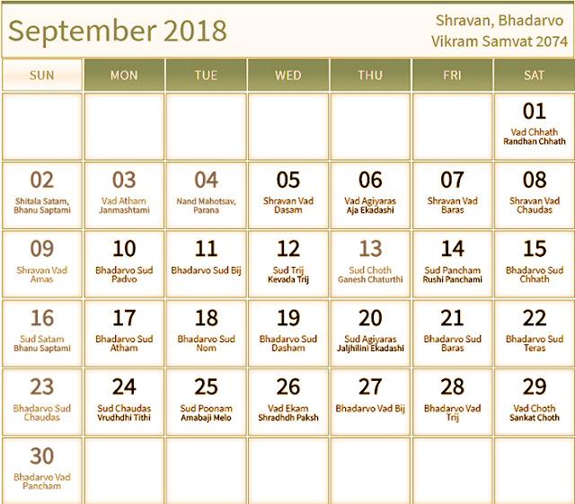 September 2018 Hindu Calendar with Tithi