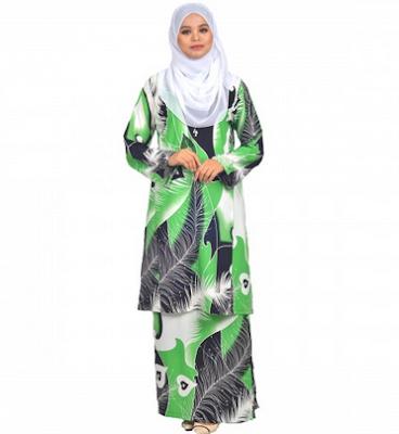 Contoh baju kurung lengan panjang variasi batik