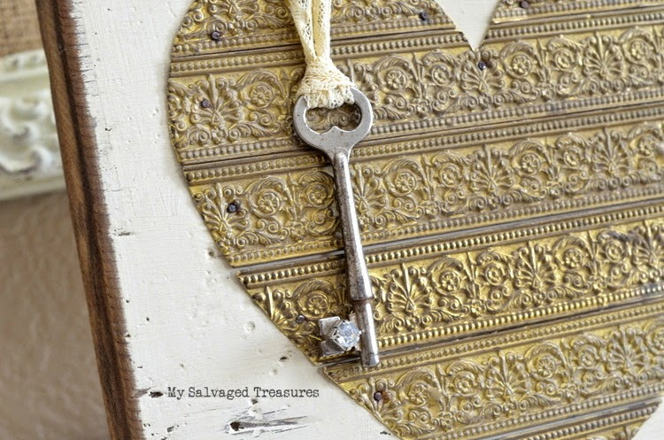 rustic heart with vintage lamp banding and skeleton key