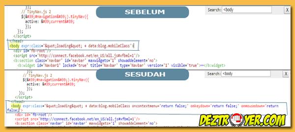 Cara disable klik kanan,CTRL U,CTRL C untuk menghindari copy paste di blog