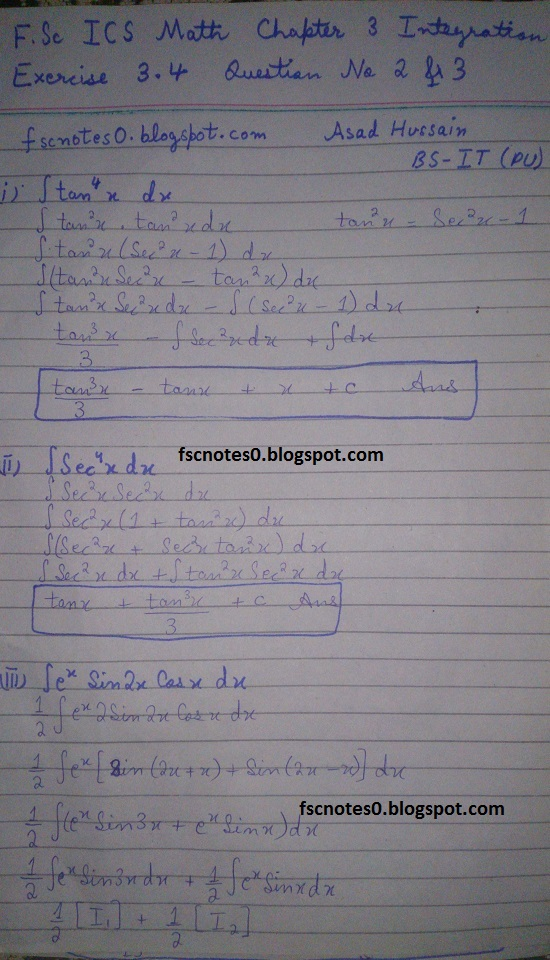 FSc ICS Notes Math Part 2 Chapter 3 Integration Exercise 3.4 Question 2 & 3 by Asad Hussain