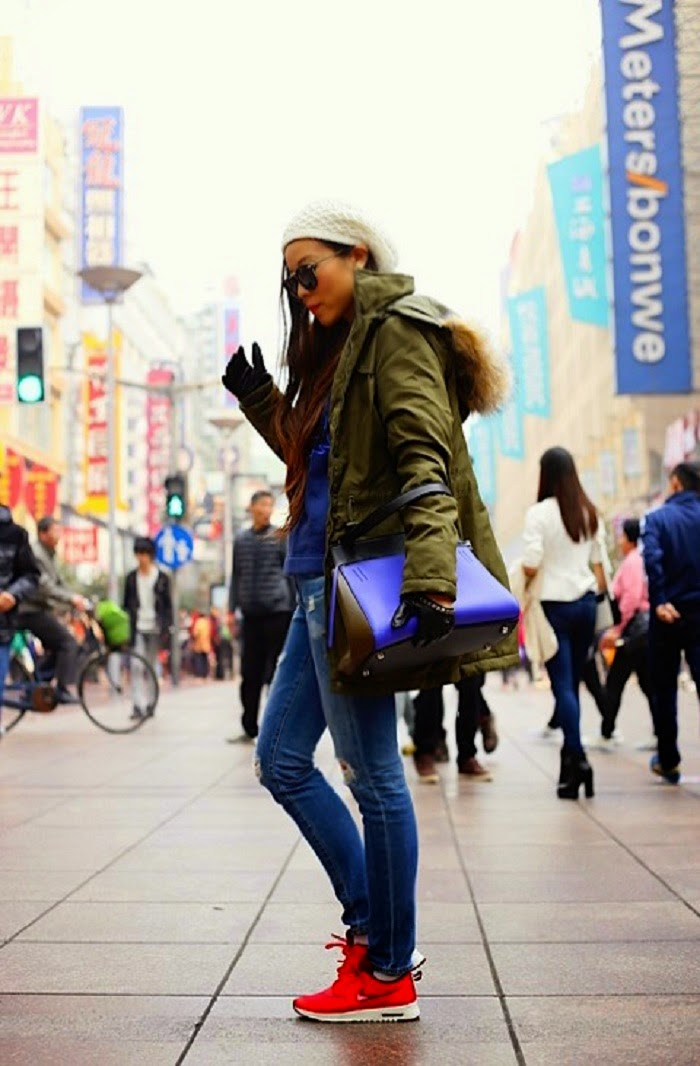 Vila Parka, winter fashion, fashion blog, how to, kenzo sweatshirt, celine edge bag, chanel classic flap bag, valentino lock bag, blank denim moto pants, AG17 year riot jeans, karen walker sunglasses, rachel zoe hat, missguided booties, vince camuto boots, stuart weitzman 5050 boots, nyc, jetset, travel , shanghai,nike airmax