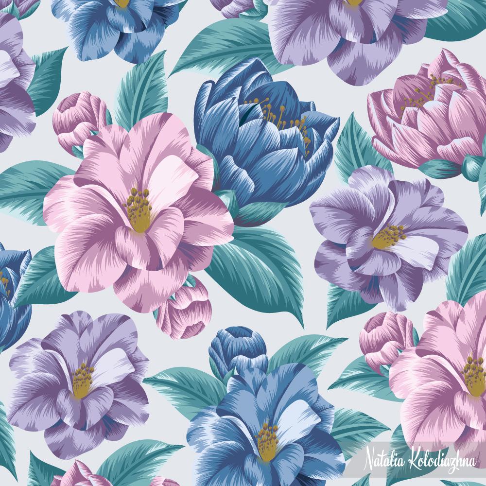 Floral camellia pattern by Natalia Kolodiazhna