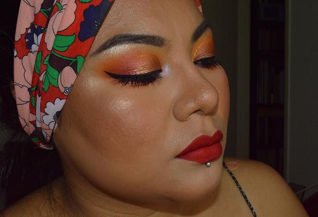 tropical makeup, sunset makeup, trucco estivo, trucco colorato, smokey arancione e oro, eyeliner klimt nabla, cut crease