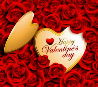 Golden heart with beautiful red roses - Happy Valentines day image