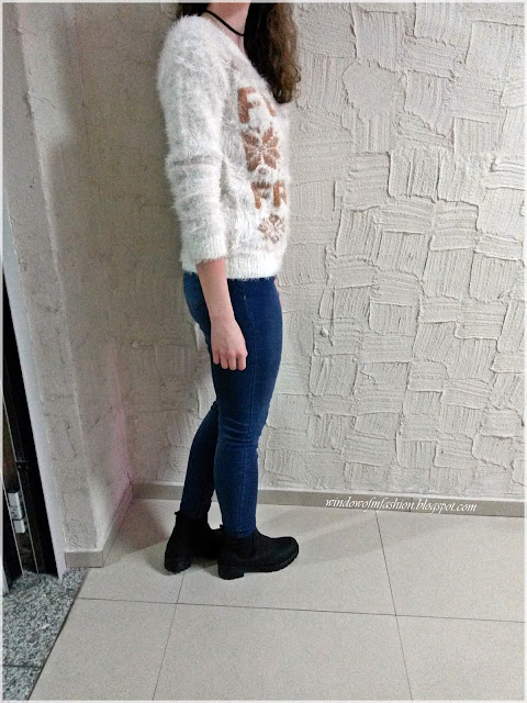 Stylizacja z włochatym swetrem