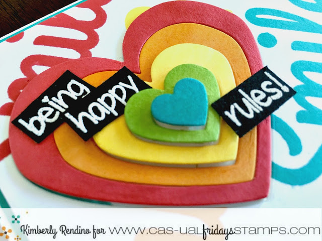 handmade card | rainbow | rainbow hearts | hearts | smiles | papercraft | cardmaking | clear stamps | CAS-ual Fridays Stamps | kimpletekreativity.blogspot.com | be happy