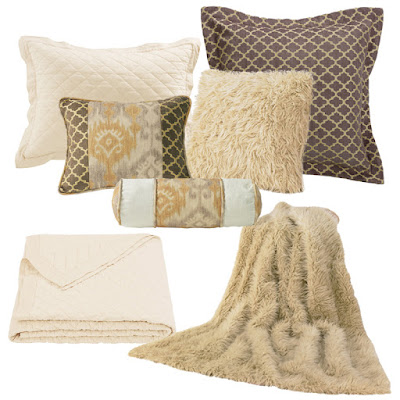 Casablanca bedding pillows, Cream Sheep Faux Fur throw and pillow, Cream diamond linen quilt