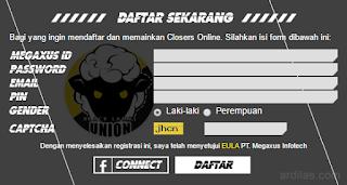 Formulir pendaftaran di Closers Online - Cara Mendaftar Atau Membuat Akun Game Closers Online