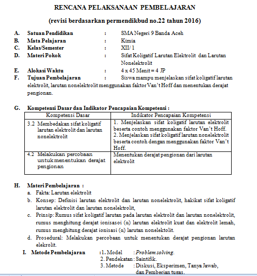 Docx Rpp 2013 Kd 3 2 Sifat Koligatif Larutan Elektrolit Dan