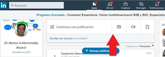Interface de Linkedlm para insertar una nueva publicacion