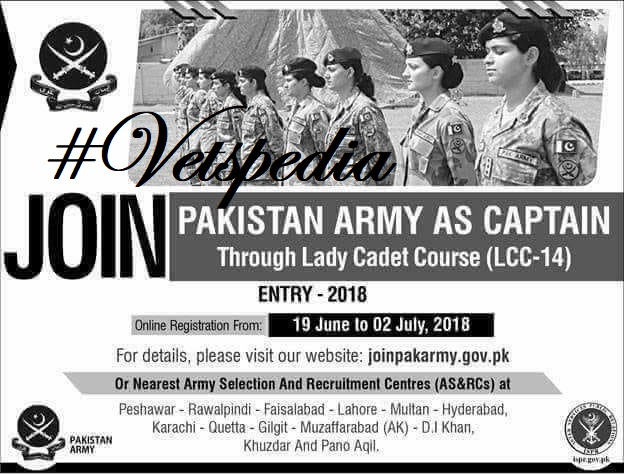 LATEST JOBS: PAK army jobs for Female Vets, Zoologists and