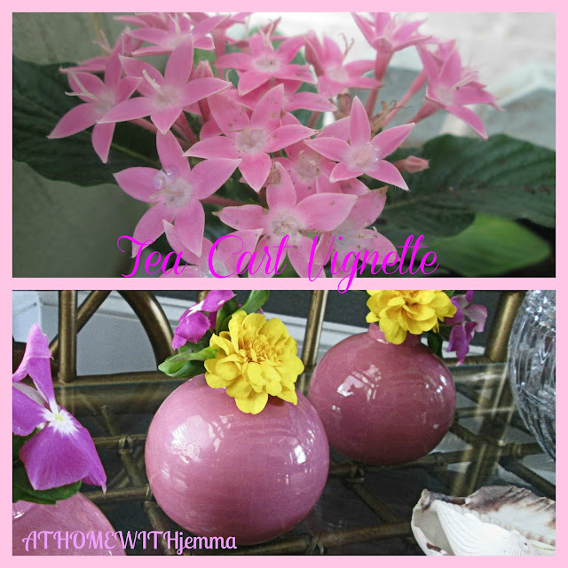 Add pink to your dining room, pink vases, pink flowers,
