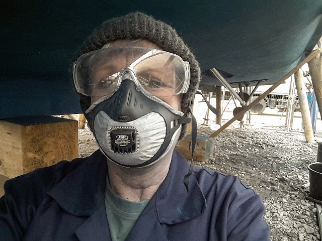 Photo of me sanding the antifoul paint