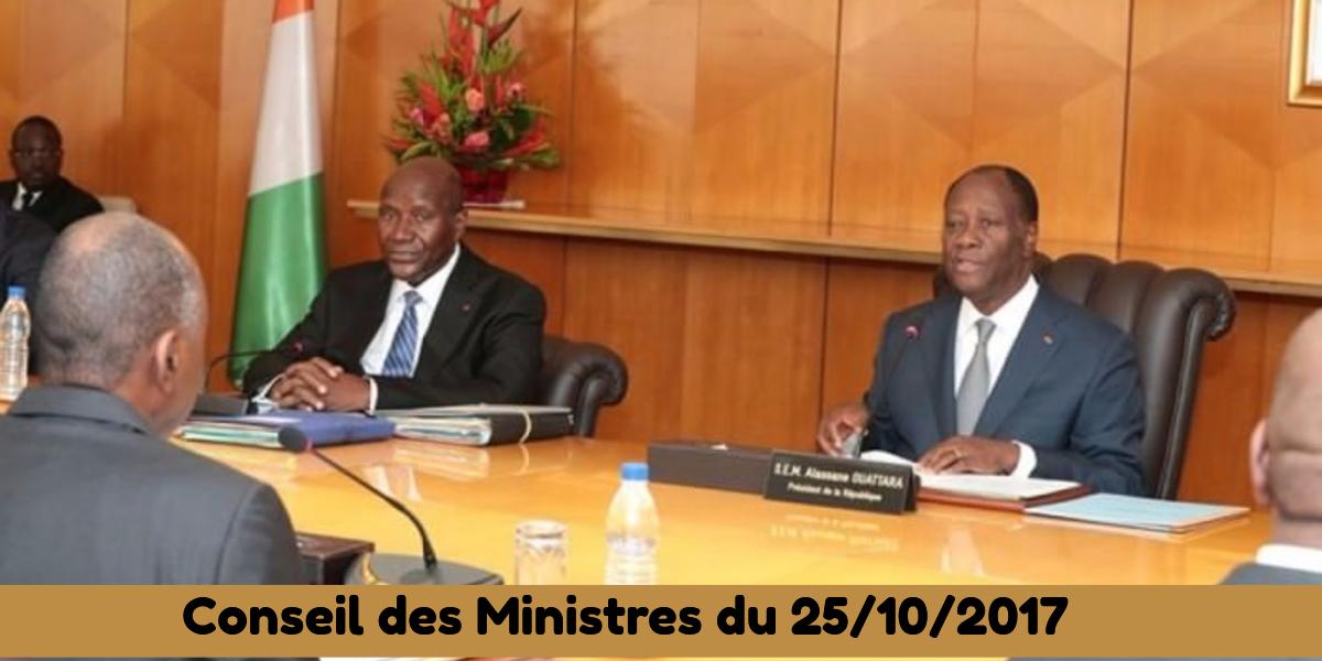Projets de décrets adoptés en Conseil des Ministres du 25/10/2017