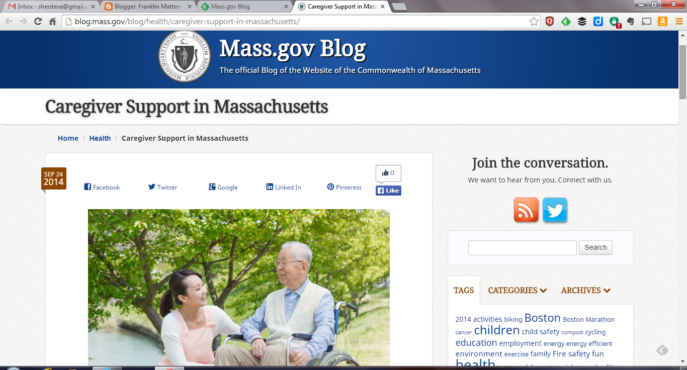 screen shot ma.gov article on caregiver support