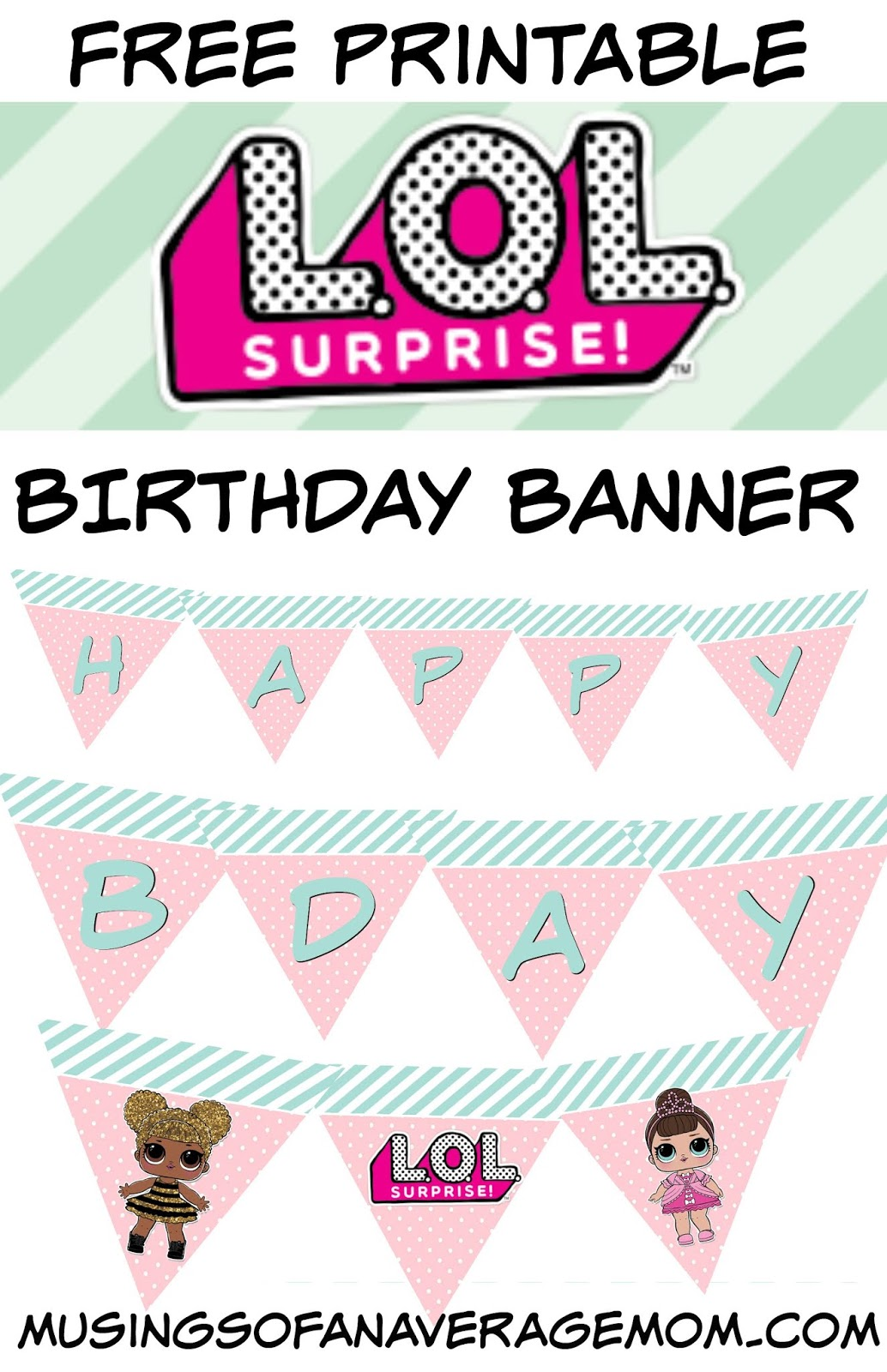 photograph about Free Birthday Banner Printable titled Musings of an Typical Mother: L.O.L. Pleased Birthday banner