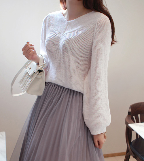 Brioche Knit V-Neck Sweater