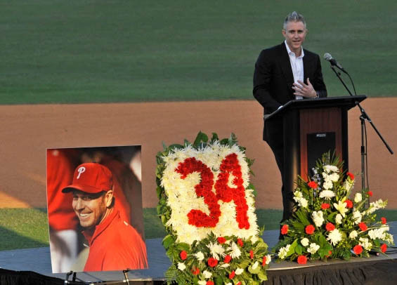 Former Phillies second baseman Chase Utley talks at celebration of life honoring Roy Halladay