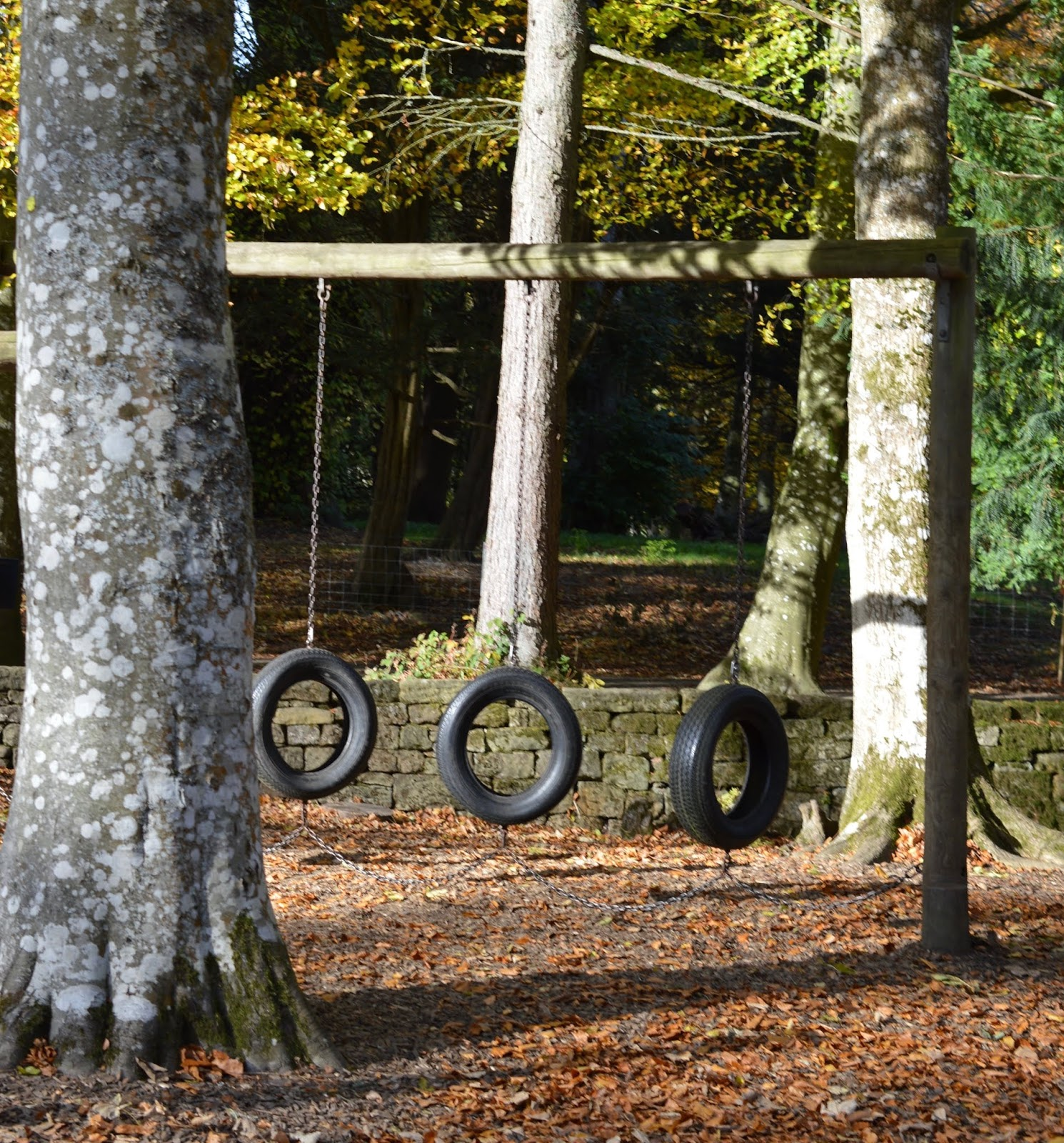 Visiting the Adventure Playground & Outdoor Play Areas at Wallington Hall  - tyres