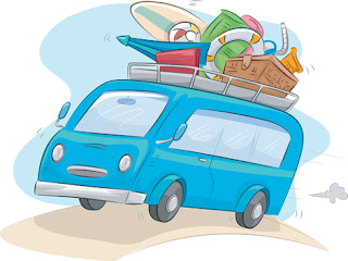 Clipart Image of a Camper Van With a Loaded Roof Rack