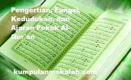 Pengertian, Fungsi, Kedudukan, dan  Ajaran Pokok Al-Qur'an