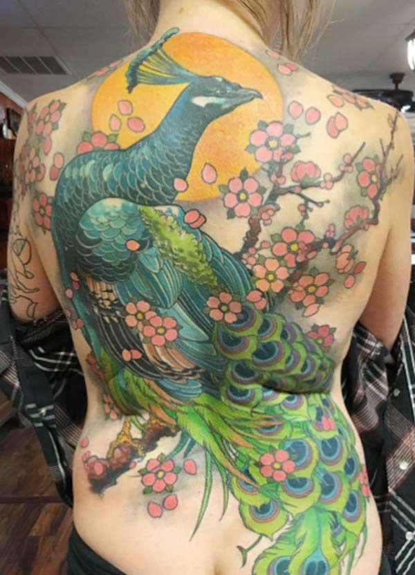 Tattoos design ideas 32 best and attractive peacock for Traditional peacock tattoo